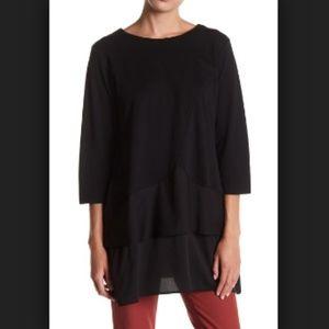 Joan Vass Black Layered Woven Hem Tunic 2X